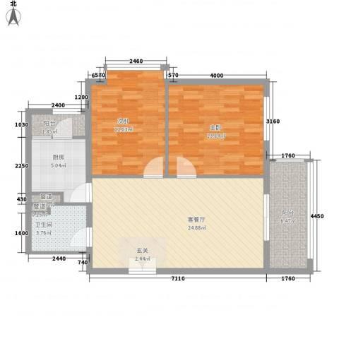 幸福家园2室1厅1卫1厨96.00㎡户型图