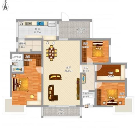 缙云小区4室1厅2卫1厨174.00㎡户型图