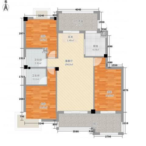 江都金域・地中海3室0厅2卫1厨121.00㎡户型图