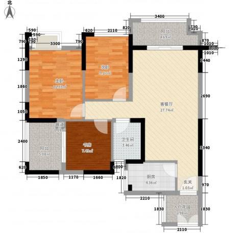 中元广场3室1厅1卫1厨89.49㎡户型图