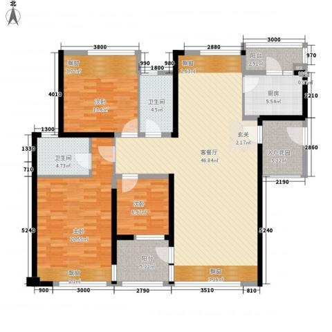 万科金域蓝湾3室1厅2卫1厨132.00㎡户型图