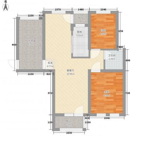 东方格兰维亚2室1厅1卫1厨84.00㎡户型图