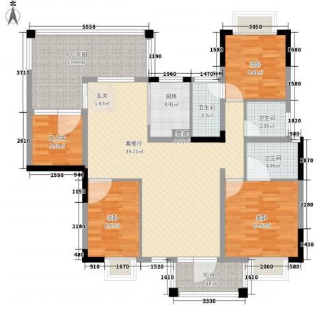 帝豪花园3室1厅3卫1厨146.00㎡户型图