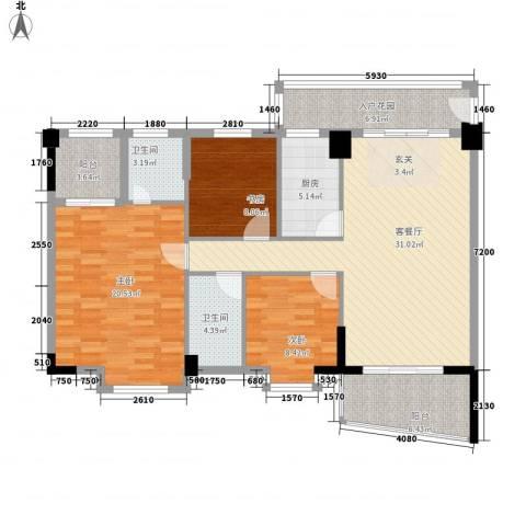 园洲中心花园3室1厅2卫1厨121.00㎡户型图