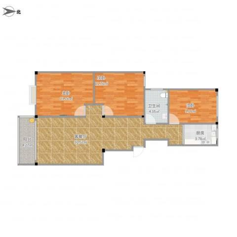 馨园小区3室1厅1卫1厨105.00㎡户型图