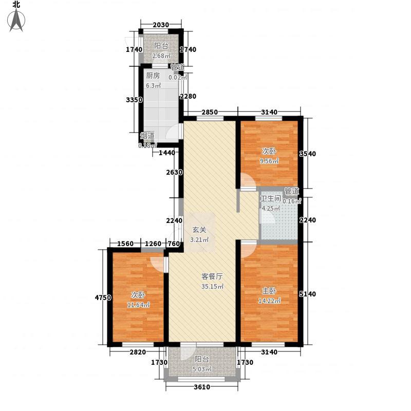 都市果岭128.00㎡D1户型3室2厅1卫1厨