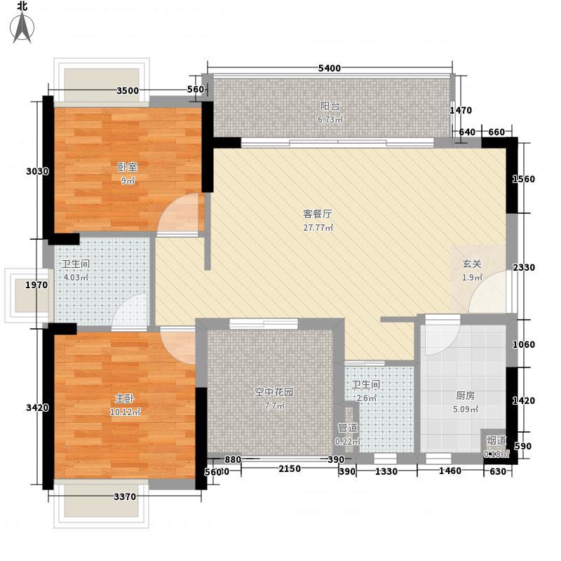 沿海江湾国际3.34㎡1-2栋标准层A1户型3室2厅2卫1厨