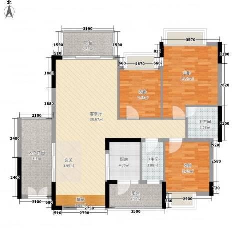 帝豪花园3室1厅2卫1厨114.00㎡户型图