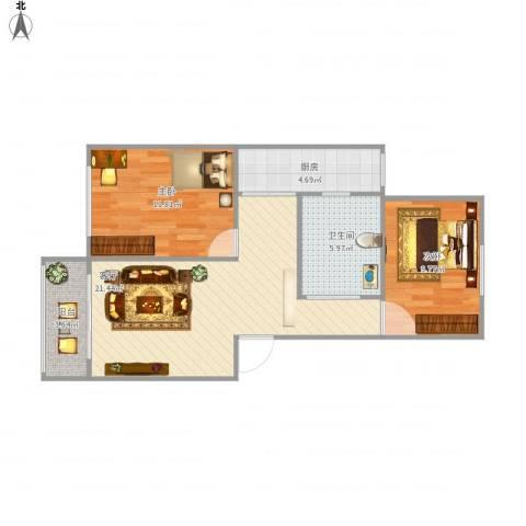 浦发绿城1960弄小区2室1厅1卫1厨78.00㎡户型图