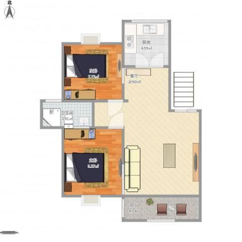 润扬广场2室1厅1卫1厨68.00㎡户型图
