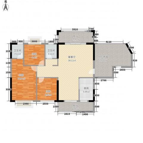 紫宸澜山3室1厅2卫1厨135.00㎡户型图