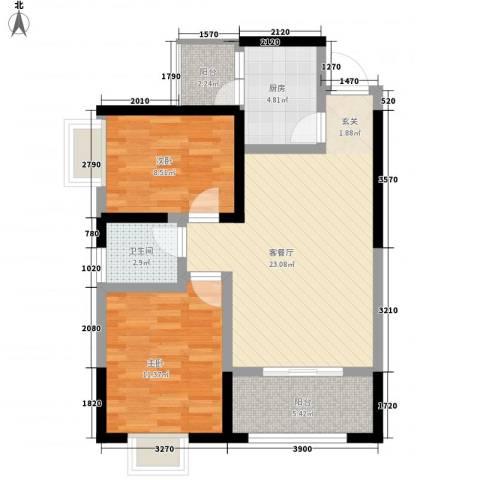 中元广场2室1厅1卫1厨68.31㎡户型图