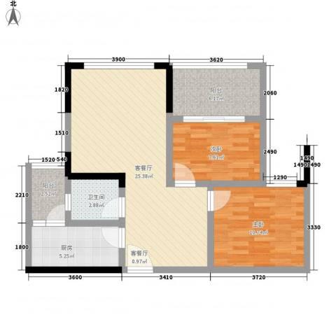 中元广场2室1厅1卫1厨71.00㎡户型图