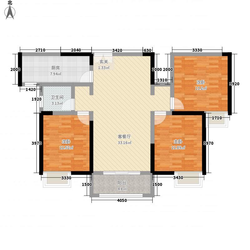 新龙・御都国际122.40㎡D2-户型3室2厅1卫1厨