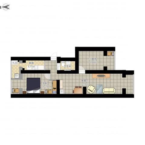 四平园3居室2室1厅1卫1厨78.00㎡户型图