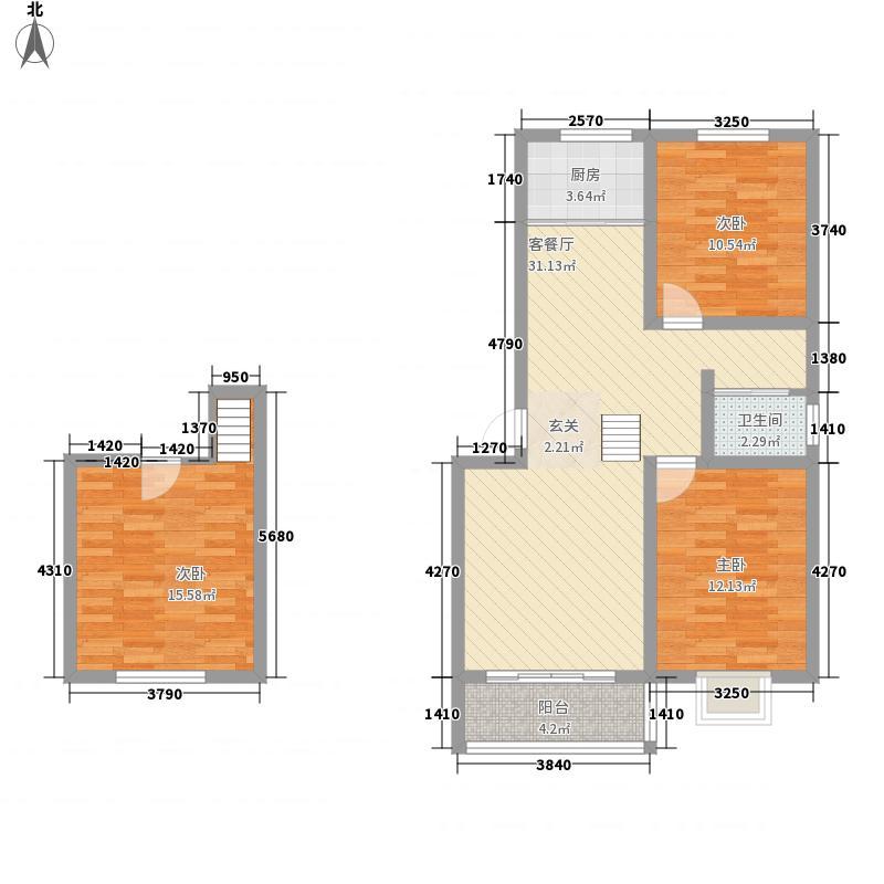 恒顺馨园114.63㎡复式A户型3室2厅1卫1厨