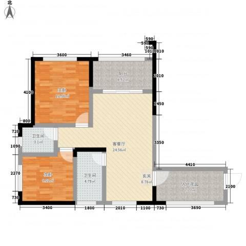 中元广场2室1厅2卫0厨80.06㎡户型图