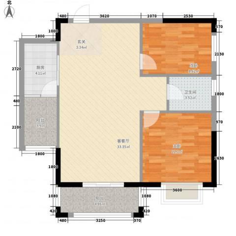 紫宸澜山2室1厅1卫1厨87.00㎡户型图