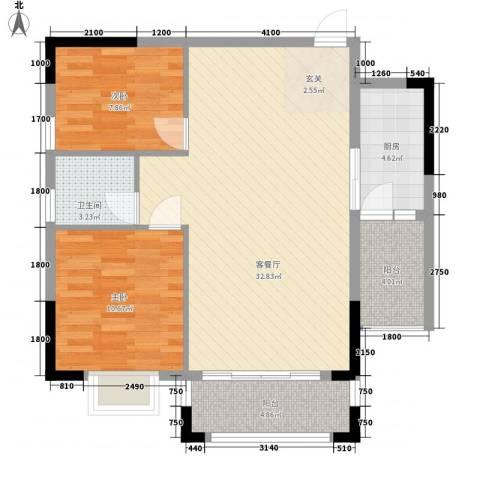紫宸澜山2室1厅1卫1厨85.00㎡户型图