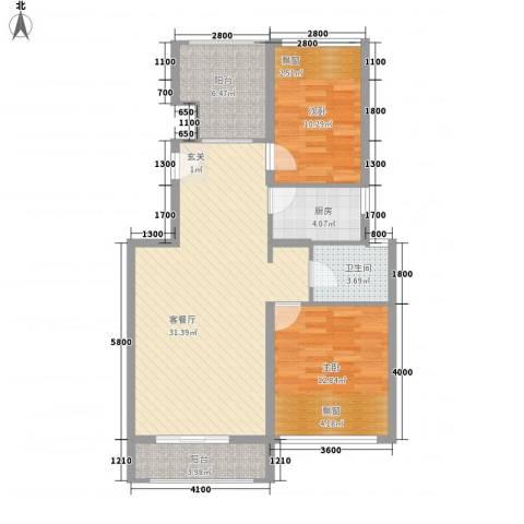 淮北凤凰城2室1厅1卫1厨102.00㎡户型图
