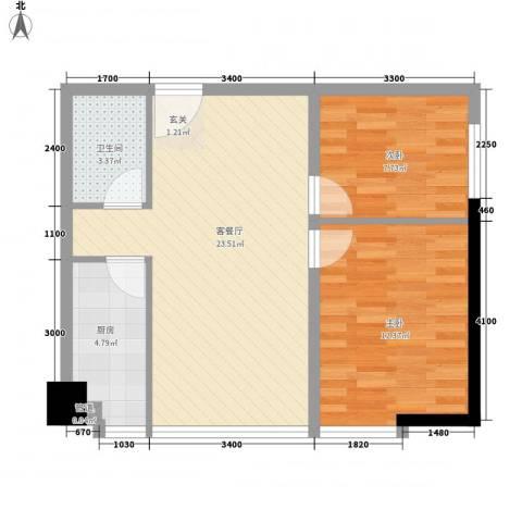 中元广场2室1厅1卫1厨58.65㎡户型图