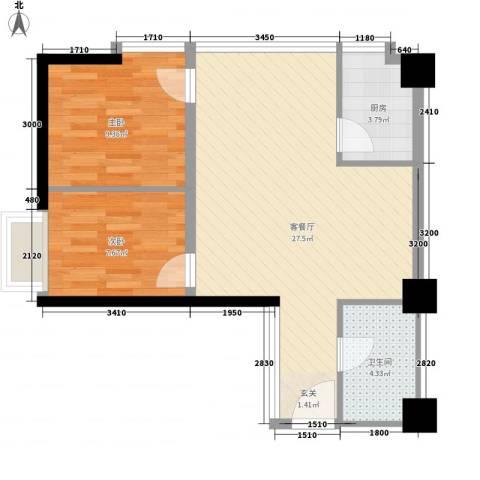 中元广场2室1厅1卫1厨59.76㎡户型图