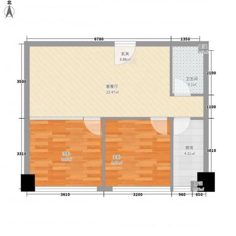 中元广场2室1厅1卫1厨57.37㎡户型图