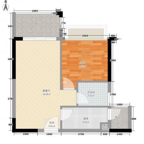 南国豪苑1室1厅1卫1厨51.63㎡户型图