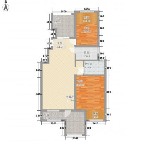 淮北凤凰城2室1厅1卫1厨116.00㎡户型图