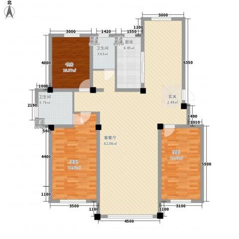 紫金城三期3室1厅2卫1厨143.00㎡户型图