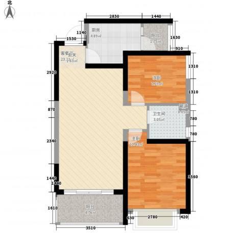 恒大名都2室1厅1卫1厨64.00㎡户型图