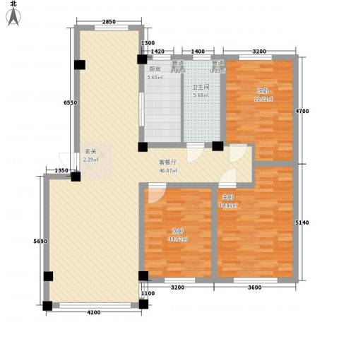 紫金城三期3室1厅1卫1厨124.00㎡户型图
