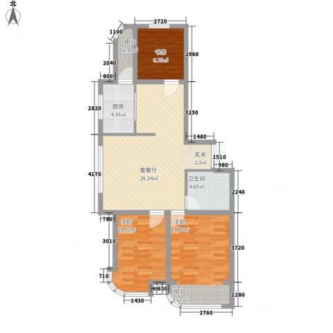金湖湾首府3室1厅1卫1厨70.05㎡户型图
