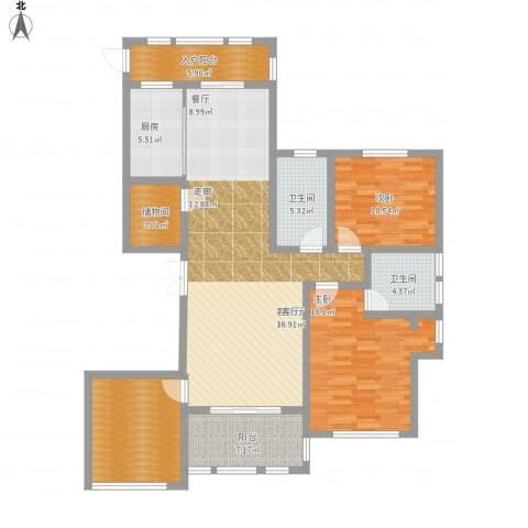保亿・风景御园2室1厅2卫1厨156.00㎡户型图