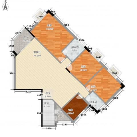 滨江绿园4室1厅1卫1厨126.00㎡户型图