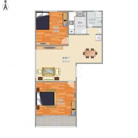 华林花园二期2室1厅1卫1厨93.00㎡户型图