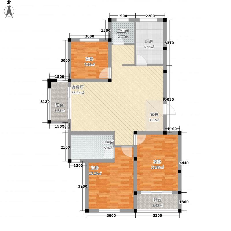 天一仁和郡8.00㎡13-16号楼D3户型2室2厅1卫1厨