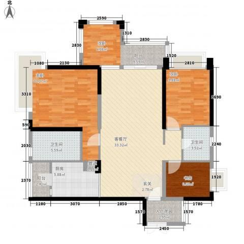荷兰水乡花语岸3室1厅2卫1厨134.00㎡户型图