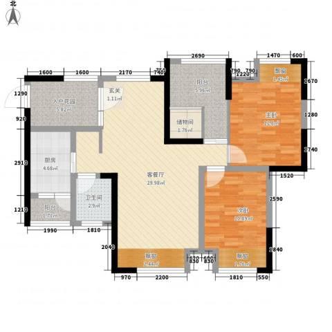 中元广场2室1厅1卫1厨89.13㎡户型图