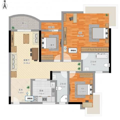 蔚蓝星湖三期3室1厅3卫1厨162.00㎡户型图