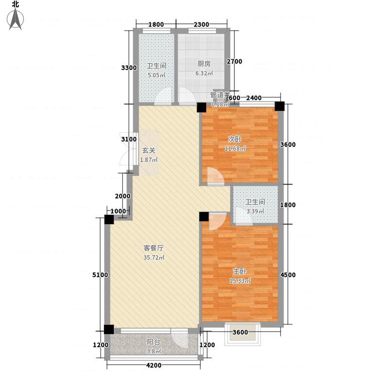 南郡天下18.00㎡5号楼A1户型2室2厅2卫
