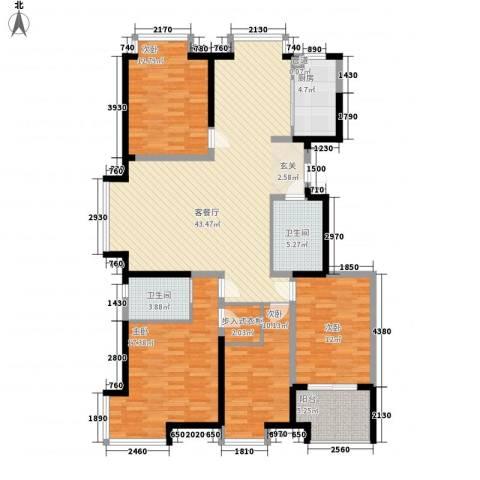 阿尔卡迪亚文承苑4室1厅2卫1厨166.00㎡户型图
