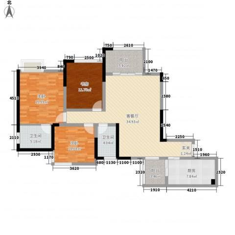 中元广场3室1厅2卫1厨114.82㎡户型图