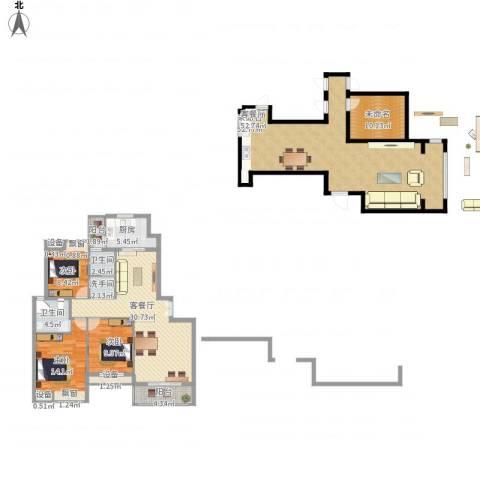 雍福上城3室1厅2卫1厨168.40㎡户型图