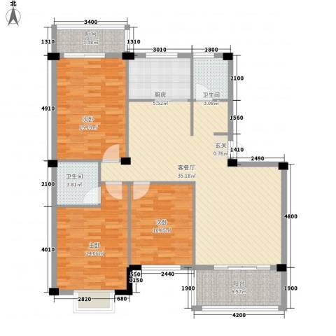 日出东辉3室1厅2卫1厨115.00㎡户型图
