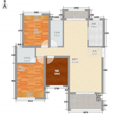 东投阳光城3室1厅2卫1厨119.00㎡户型图