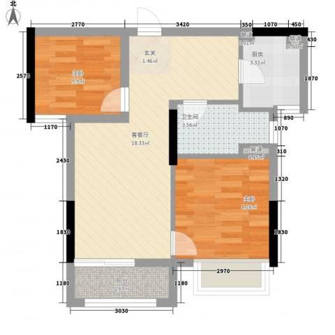兰亭�岛2室1厅1卫1厨62.00㎡户型图