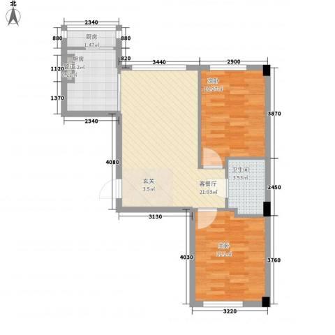 泉水A1区2室1厅1卫2厨75.00㎡户型图