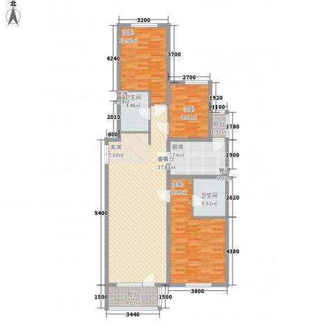 首创・龙湾3室1厅2卫1厨143.00㎡户型图