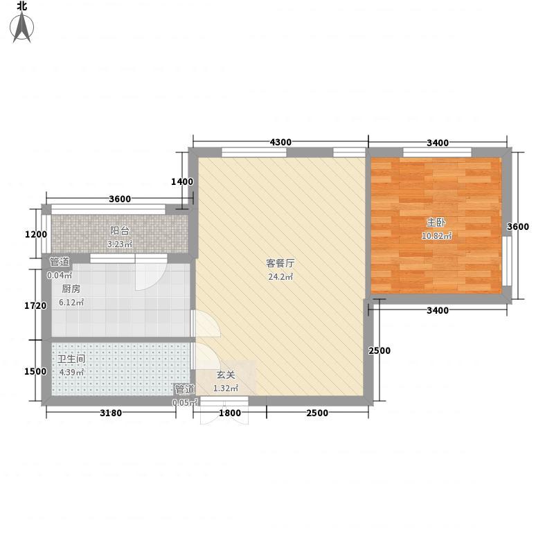 首创・龙湾户型1室2厅1卫1厨